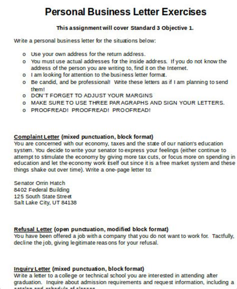 Writing Business Letters In Exercises personal business letter sle 6 exles in word pdf
