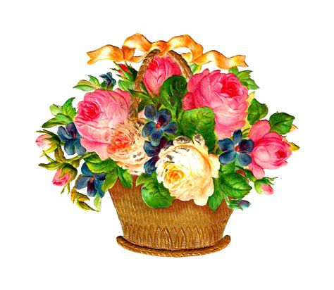 antique images free flower basket graphic pink and white roses and flowers in vintage wicker