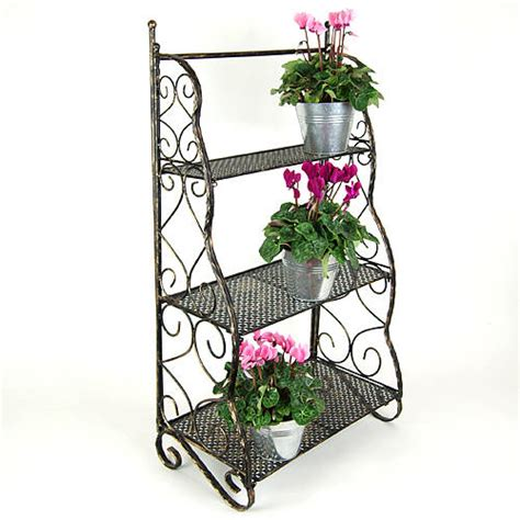 herb shelf wrought iron herb flower pot garden shelving in metal