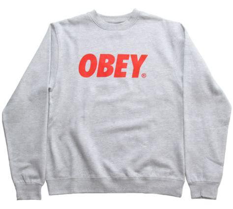 Sweater Basic Obey obey font s crew neck basic sweatshirt grey ebay