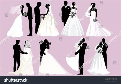 Wedding And Groom Vector by Wedding Silhouettes Vector Groom Silhouettes Stock
