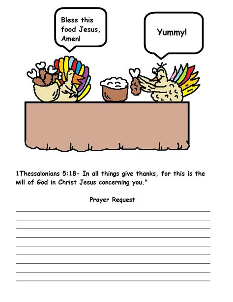Thanksgiving Crafts For Sunday School Thanksgiving Prayer Template