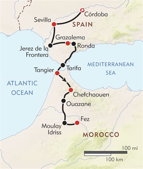 southern spain map southern spain to morocco itinerary map wilderness