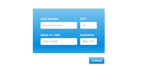 Credit Card Form Template Css 10 Jquery Credit Card Form Plugins Learning Jquery