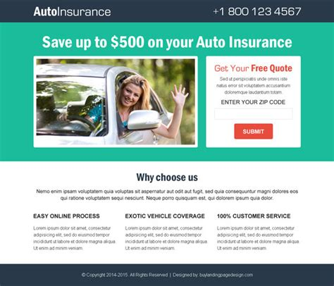 Best Auto Insurance Business Conversion Lead Generation Landing Page Design Templates Landing Lead Capture Template