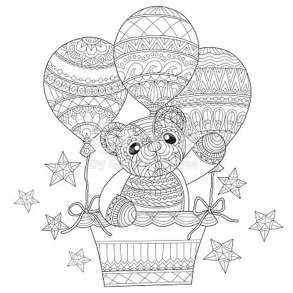 teddy bear coloring pages for adults hand drawn teddy bear in the balloon for adult coloring