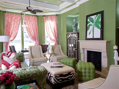 pink and green living room hgtv