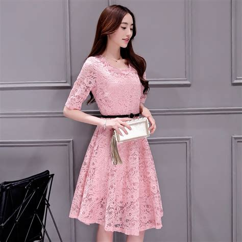 Bigsize Fuchsia Slim Look Dress Made In Korea 1 free shipping canada robe longue femme 2016 summer new korean plus size lace hollow robe