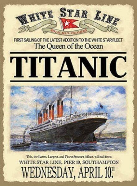 titanic boat poster vintage metal sign plaque rms titanic british ship boat