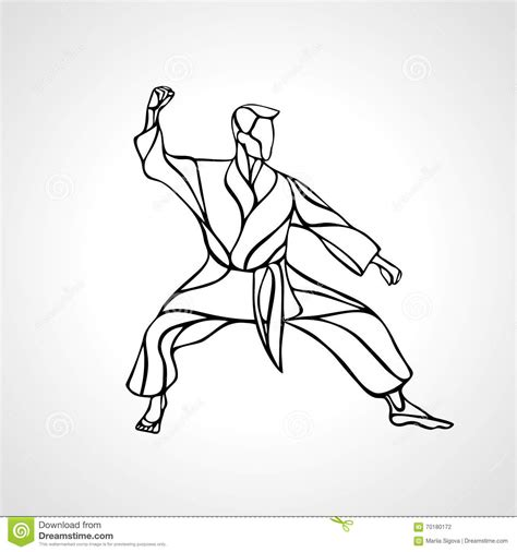 martial arts pose silhouette karate fighter stock vector