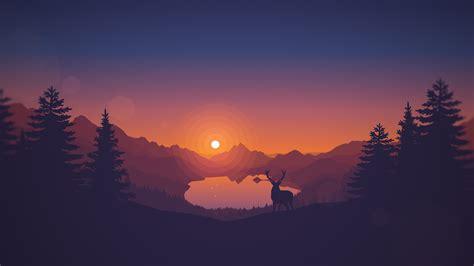 Minimalistic Home sunset drawing animals lake landscape deer artwork