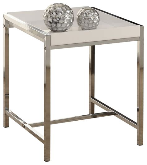 acrylic accent table white acrylic chrome metal accent table contemporary