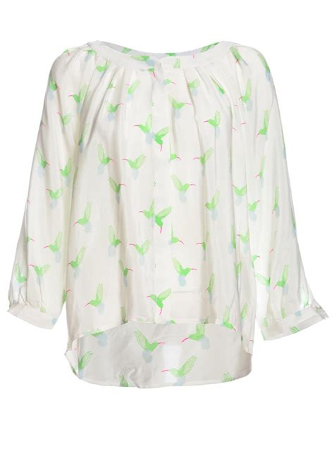 New Furla Mercy lyst mercy delta warwick white silk blouse with hummingbird print in green