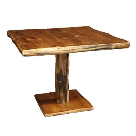 log pedestal table country western rustic cabin wood