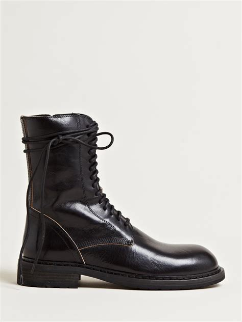 lace boots lyst demeulemeester tonato lace up boots in black