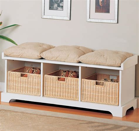 white storage bench with baskets coaster white storage bench with baskets 501054