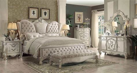 ivory velvet white bone sleigh bed ac chatueau traditional bedroom