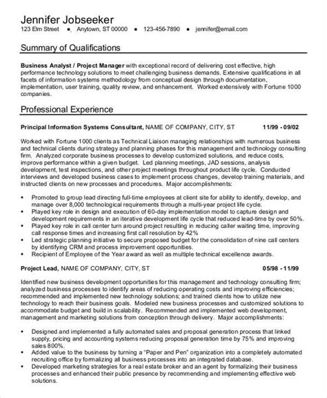 Business Analyst Project Manager Sle Resume by 38 Sle Resume Templates Free Premium Templates