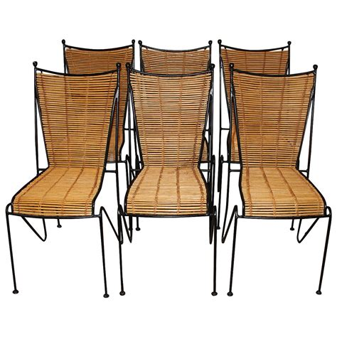 iron dining room chairs set of six wrought iron and bamboo dining chairs