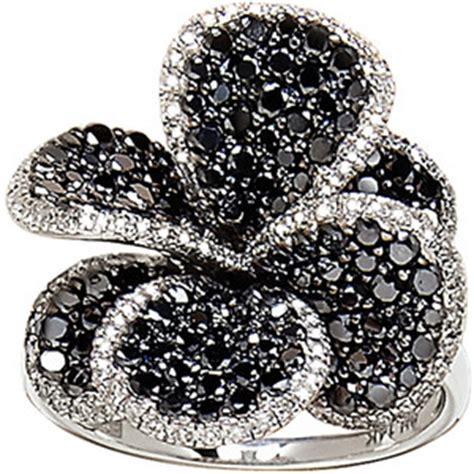 effy collection black flower ring in 14 kt white