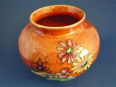 Royal Winton Grimwades Vase Stunning Royal Winton Daisies Orange Lustre Vase C1935