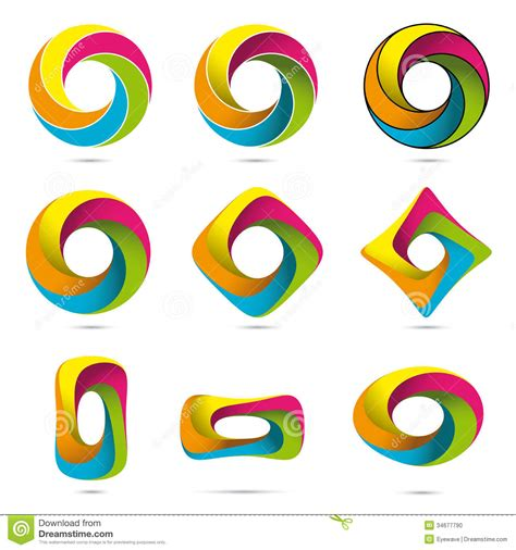 design lop vector colorful infinite impossible objects set stock photo