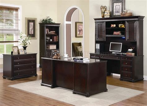 Brown Office Desk Rich Dark Brown Finish Classic Office Desk W Optional Items