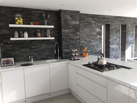 Kitchen Colour Scheme Ideas silver grey split face mosaic wall tiles from tile mountain