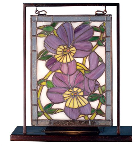 stained glass in home decor accents letters from eurolux meyda lighting 9 5 quot x10 53 quot pansies lighted mini tabletop