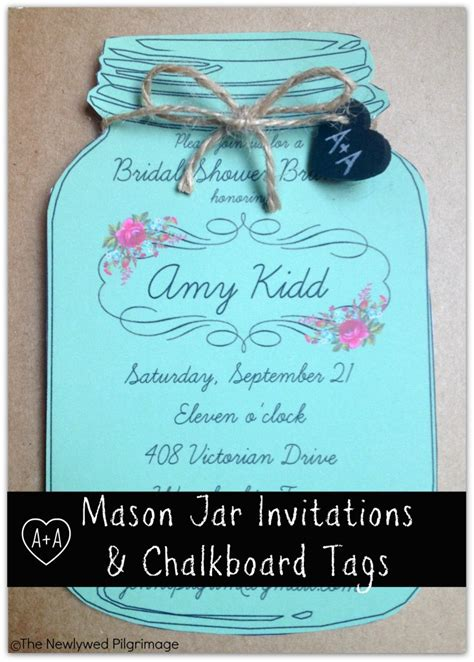 mason jar invitations and chalkboard tags for weddings or