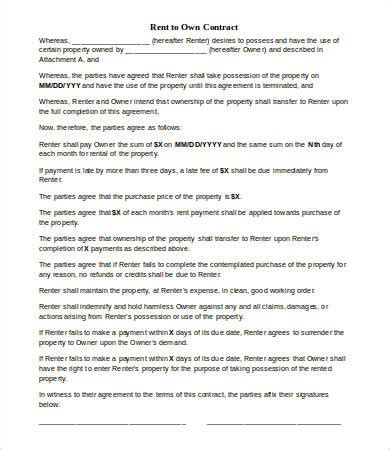 rent to own contract 7+ free word, pdf documents