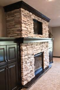 stone fireplace built ins around above help with tile