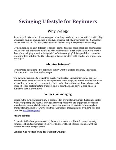 swinging lifestyles com swinging lifestyle for beginners
