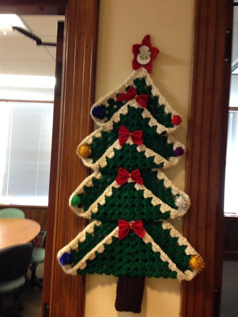 granny christmas tree pattern crocheted granny square christmas tree wall by crowshayshop