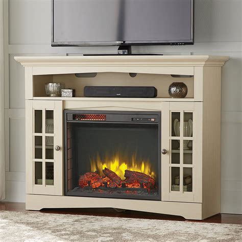 white electric fireplace media console home decorators collection avondale grove 48 in media console infrared electric fireplace in