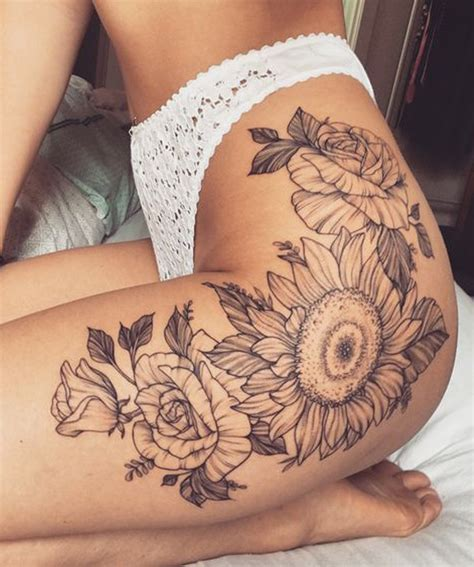 small thigh tattoo ideas 20 of the most boujee sunflower ideas mybodiart
