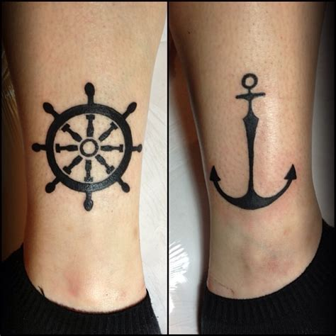 cool dark ship steering wheel n anchor tattoo design