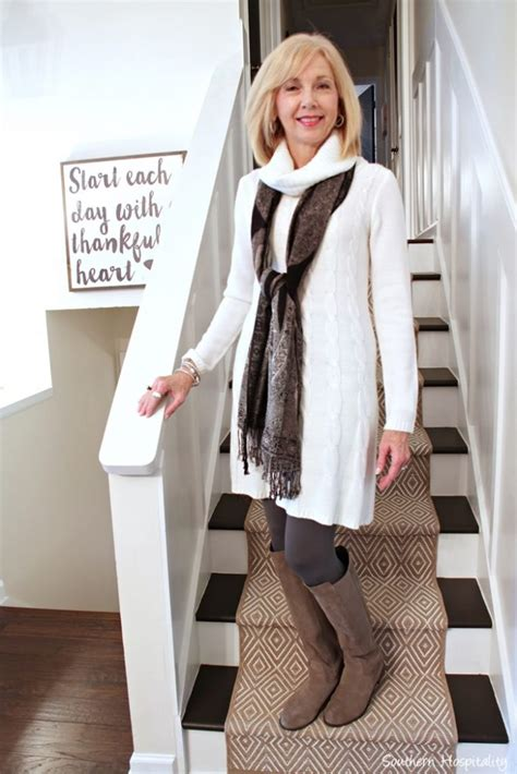 dresses with boots for women over 50 fashion over 50 winter white sweater dress southern
