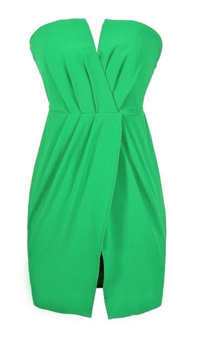 Bright Green Cocktail Dress - boutique bright green strapless dress green