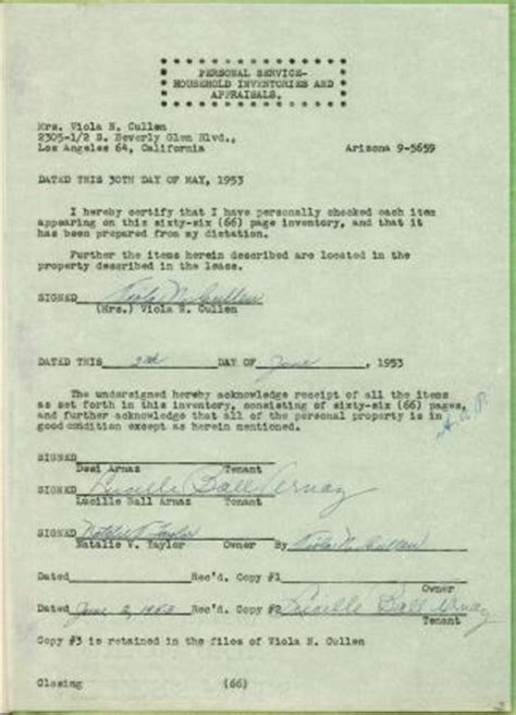 lucille ball s death certificate cause of death was acute lucille ball rare personal roxbury drive 66 pg inventory