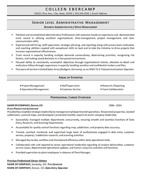 admin resume business administration resume exle