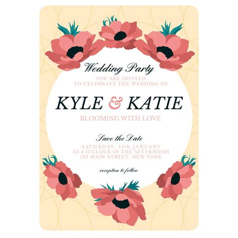 hand drawn colorful wedding invitation template vector