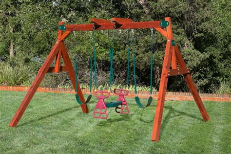 Wooden Small Yard Swing Set, Wooden Play