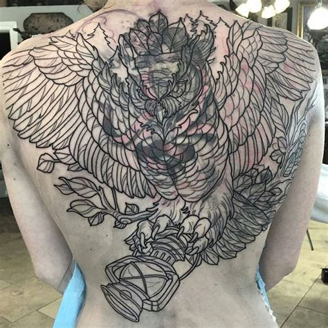 one back piece tattoo update finished garp started cover up owl back piece outline