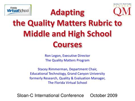 quality matters certification adapting the quality matters rubric to middle and high
