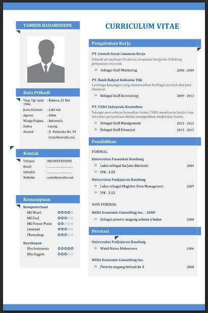 Contoh Curriculum Vitae English Doc Example Good Resume Template