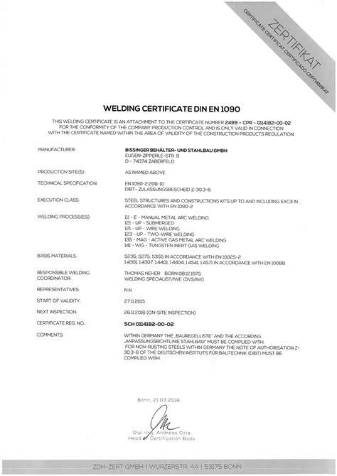 Zertifizierungen - bissinger Behälter-und Stahlbau aus