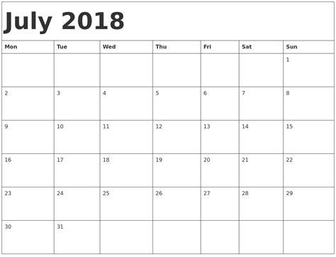 Calendar July 2018 July 2018 Calendar Template
