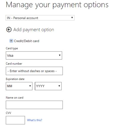 how to make payment store card add edit payment method remove credit card in windows store