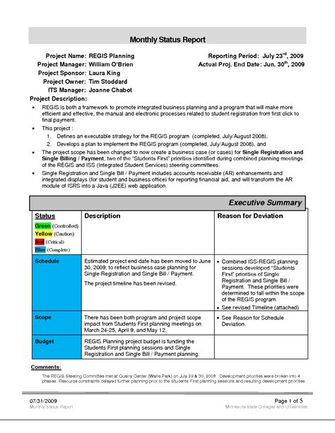 business monthly status report template exle helloalive